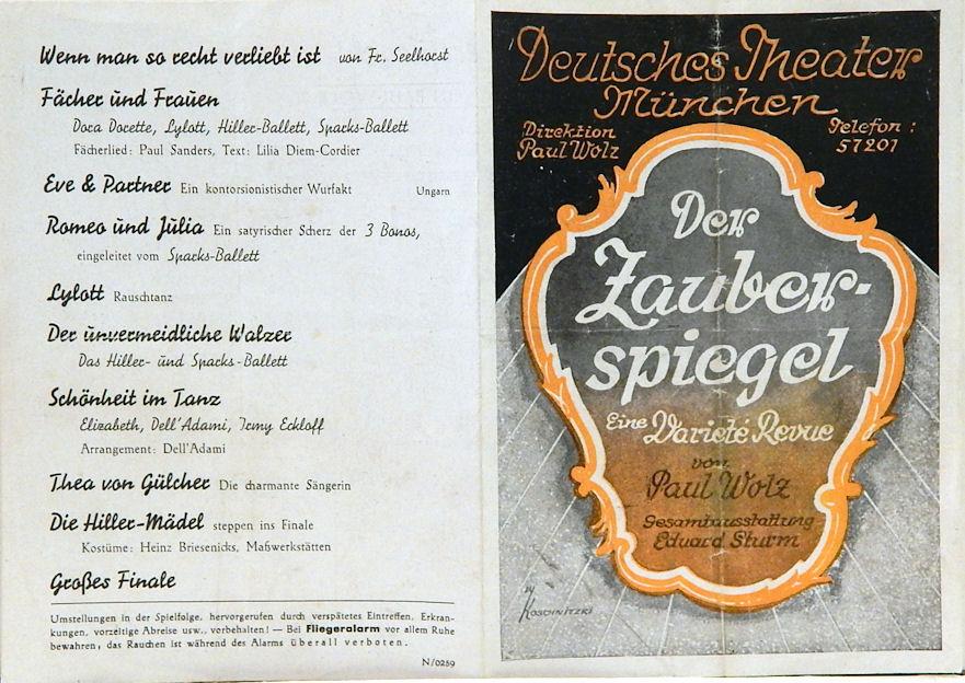 Deutsches Theater München. Programmflyer: Der Zauberspiegel. Nach ...